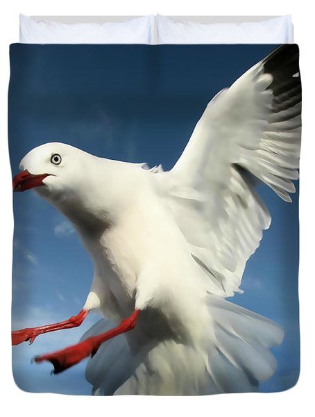 Red Billed Seagull  Duvet Cover by Amanda Stadther