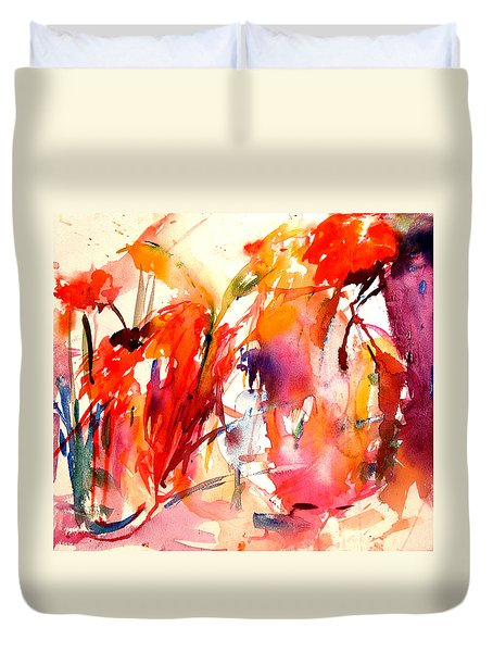 Red Blooms Duvet Cover by Tolere