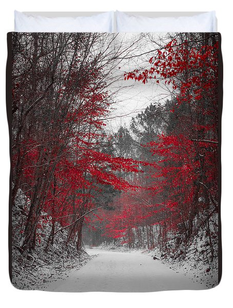 Red Blossoms Duvet Cover by Parker Cunningham