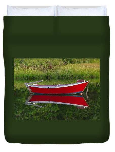 Red Boat Duvet Cover by Juergen Roth