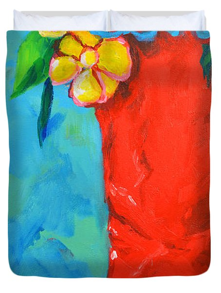 Red Boot with Flowers Duvet Cover by Patricia Awapara