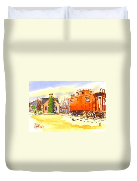 Red Caboose At Whistle Junction Ironton Missouri Duvet Cover by Kip DeVore