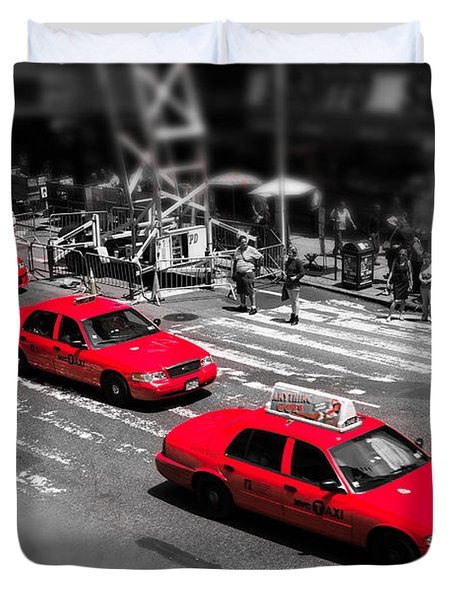 Red Cabs On Time Square Duvet Cover by Hannes Cmarits