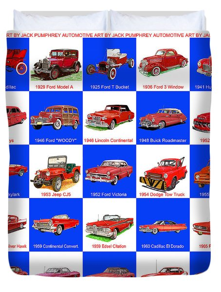 Red Cars Of America Duvet Cover by Jack Pumphrey