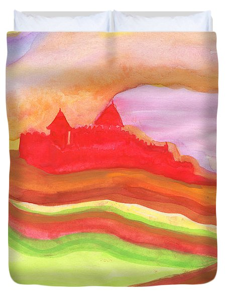Red Castle Duvet Cover by First Star Art