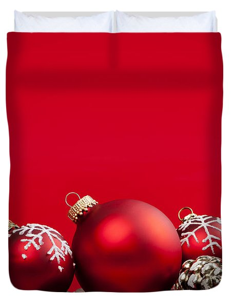 Red Christmas baubles and decorations Duvet Cover by Elena Elisseeva