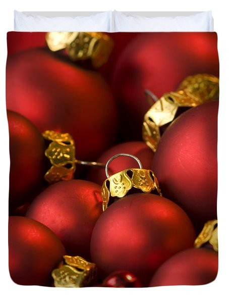 Red Christmas Baubles Duvet Cover by Anne Gilbert