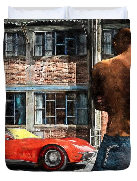 Red Corvette Duvet Cover by Bob Orsillo