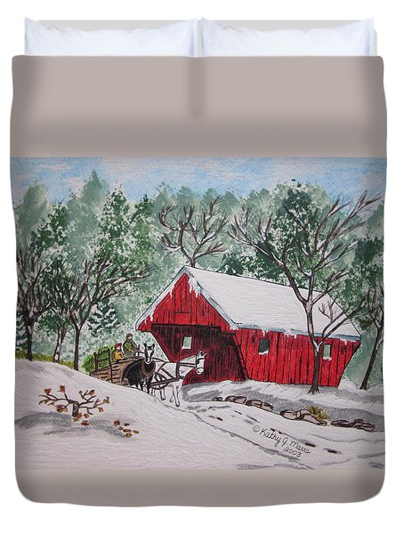 Red Covered Bridge Christmas Duvet Cover by Kathy Marrs Chandler