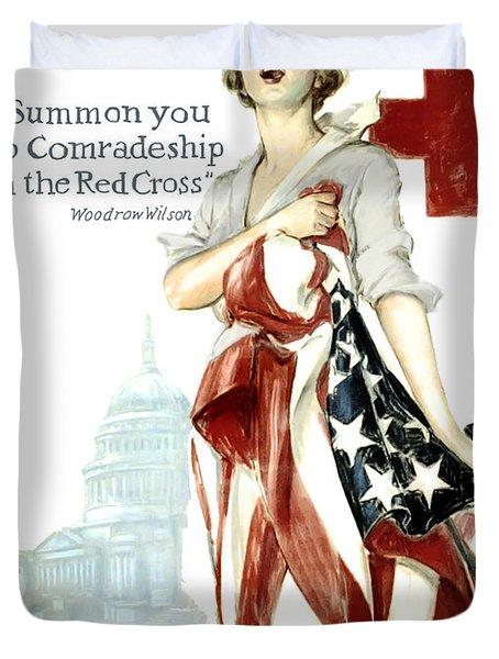 RED CROSS WORLD WAR 1 POSTER  1918 Duvet Cover by Daniel Hagerman
