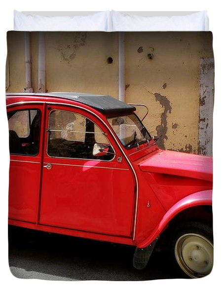 Red Deux Chevaux Duvet Cover by Lainie Wrightson