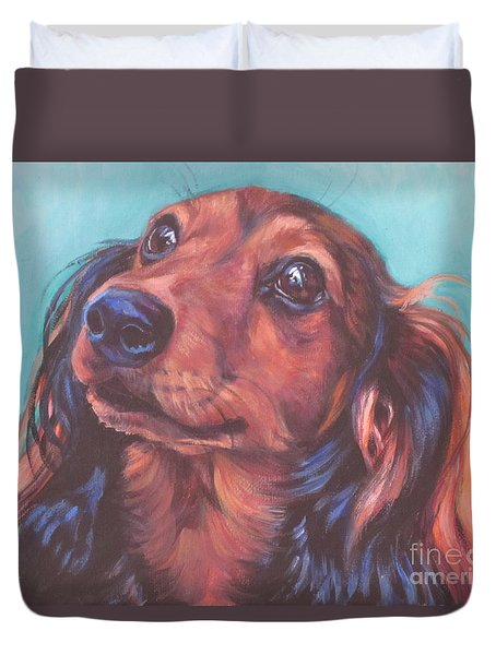 Red Doxie Duvet Cover by Lee Ann Shepard