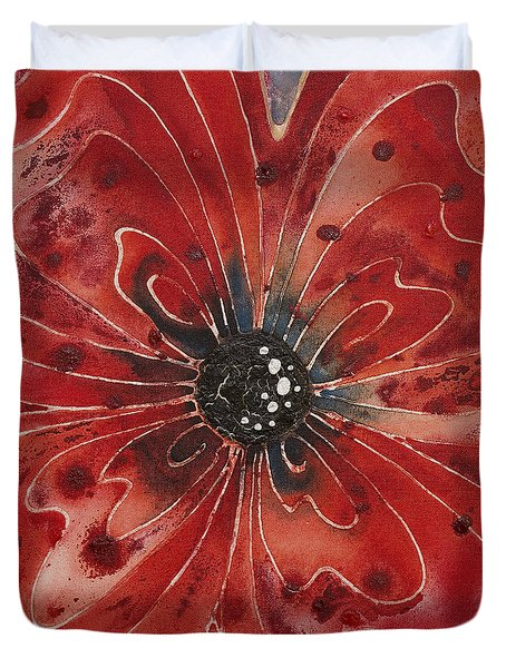 Red Flower 1 - Vibrant Red Floral Art Duvet Cover by Sharon Cummings