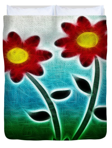 Red Flowers - Digitally Created and altered with a filter Duvet Cover by Gina Lee Manley