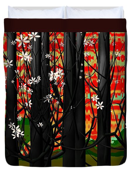 Red Forest Duvet Cover by GuoJun Pan