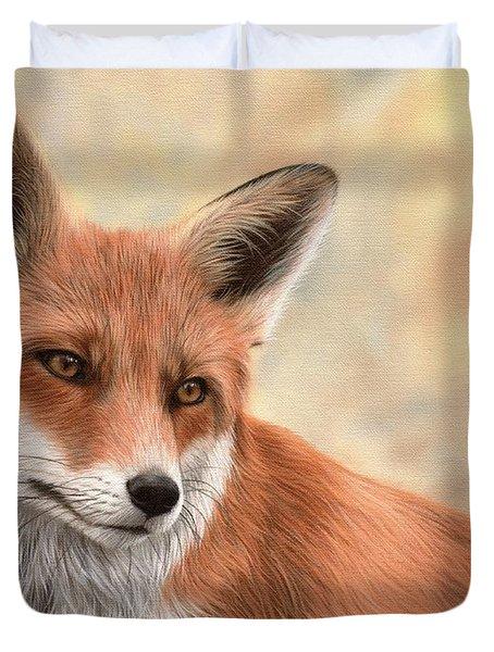 Red Fox Painting Duvet Cover by Rachel Stribbling