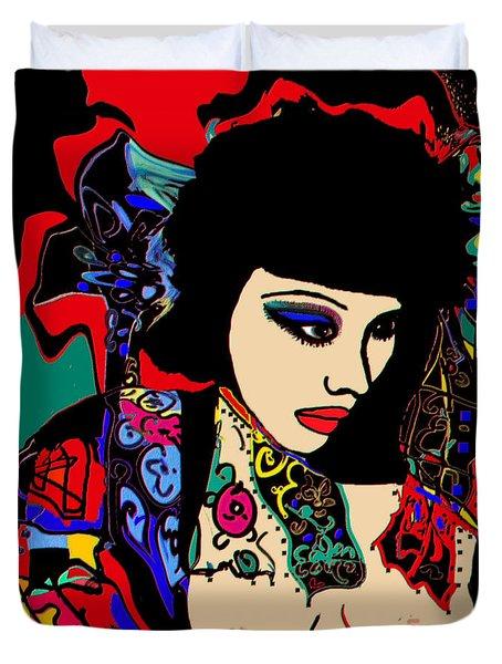 Red Geisha Duvet Cover by Natalie Holland