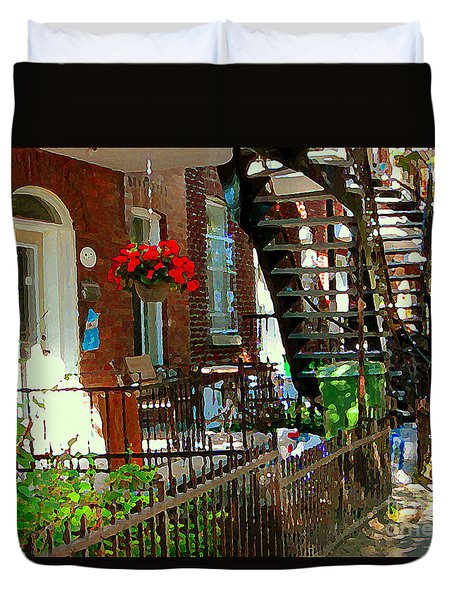 Red Geraniums Verdun Winding Staircases Hanging Flower Basket Montreal Porch Scene Carole Spandau Duvet Cover by Carole Spandau