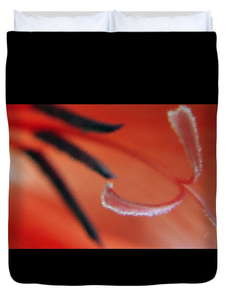 Red Gladiolus Abstract Duvet Cover by Ben and Raisa Gertsberg