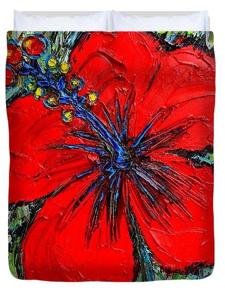 RED HIBISCUS Duvet Cover by ANA MARIA EDULESCU