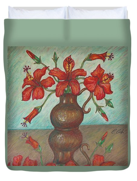 Red Hibiscus With Blue Background Duvet Cover by Claudia Cox