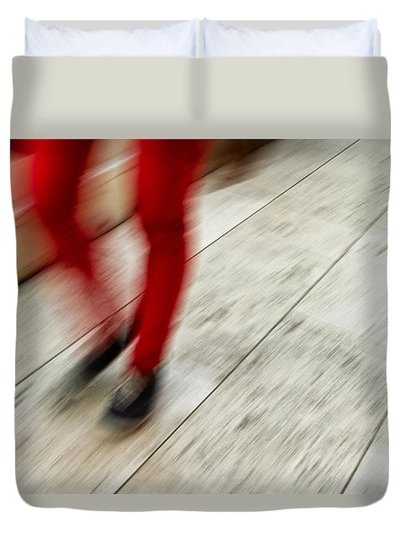 Red Hot Walking Duvet Cover by Karol Livote