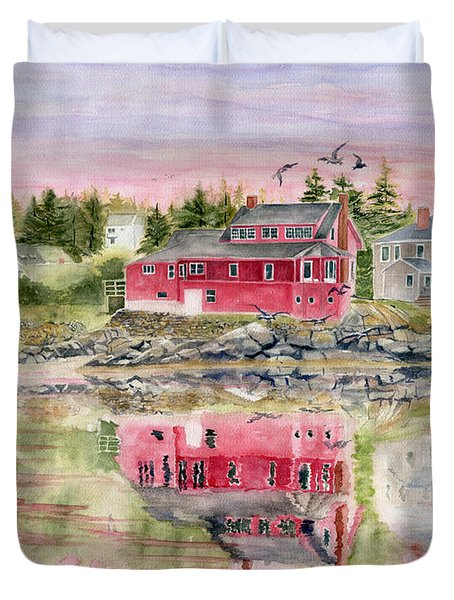 Red House Reflection Duvet Cover by Melly Terpening