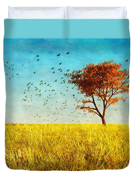 Red Maple Duvet Cover by Bob Orsillo