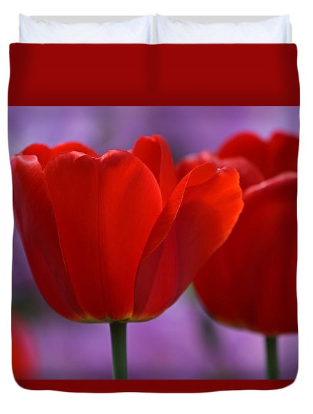 Red On Pink Duvet Cover by Juergen Roth