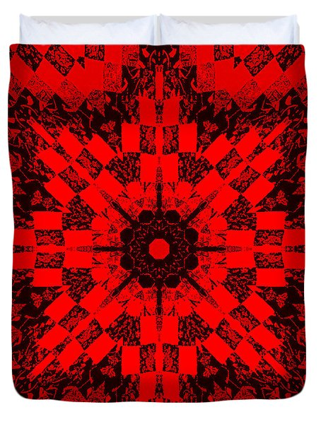 Red Patchwork Art Duvet Cover by Barbara Griffin