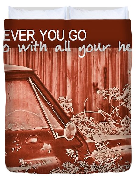 Red Pickup Quote Duvet Cover by JAMART Photography