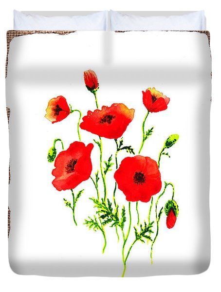 Red Poppies Decorative Collage Duvet Cover by Irina Sztukowski