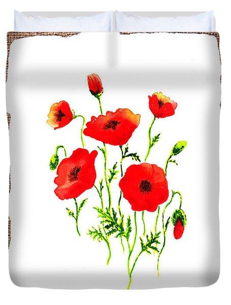 Red Poppies Decorative Collage Duvet Cover by Irina Sztukowski
