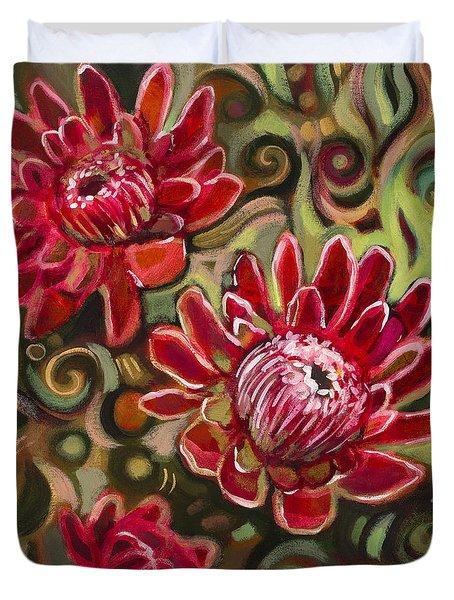 Red Proteas Duvet Cover by Jen Norton