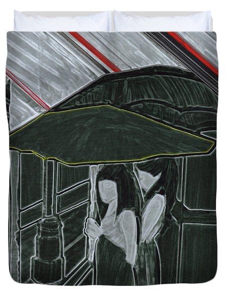 Red Rain Duvet Cover by First Star Art