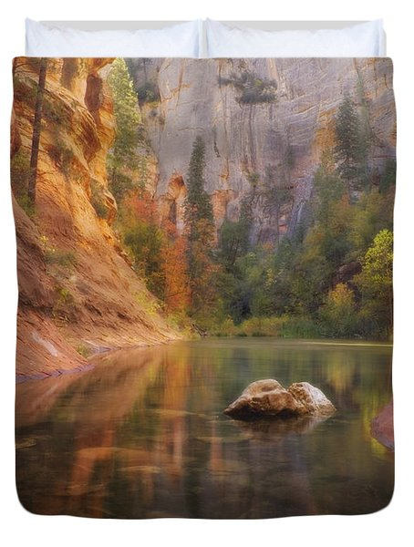 Red Rock Autumn Duvet Cover by Peter Coskun