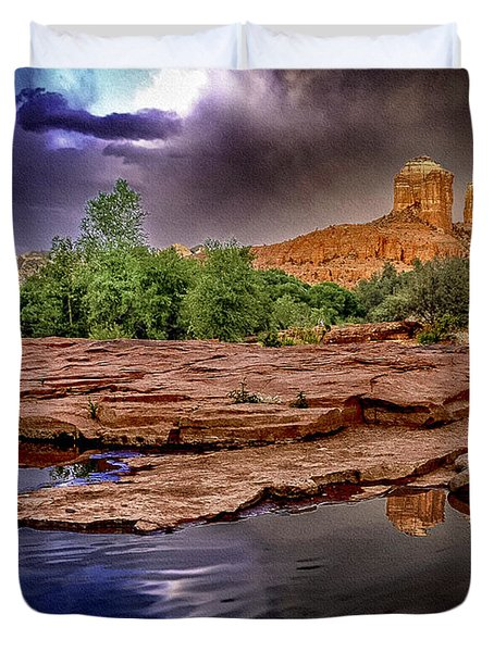 Red Rock Crossing Red Rock State Park Duvet Cover by  Bob and Nadine Johnston
