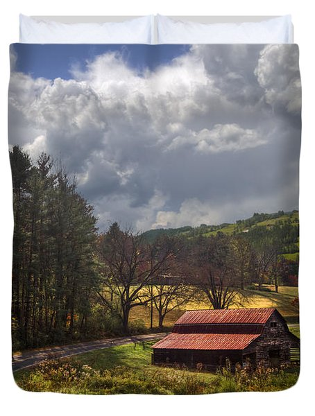 Red Roof Barn Duvet Cover by Debra and Dave Vanderlaan