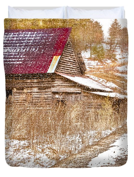 Red Roof In The Snow Duvet Cover by Debra and Dave Vanderlaan