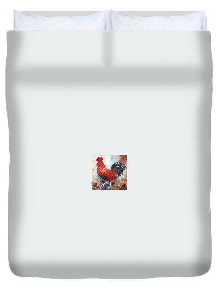 Red Rooster Duvet Cover by Dorothy Maier