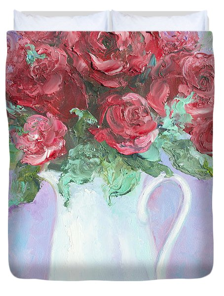 Red Roses in white jug Duvet Cover by Jan Matson