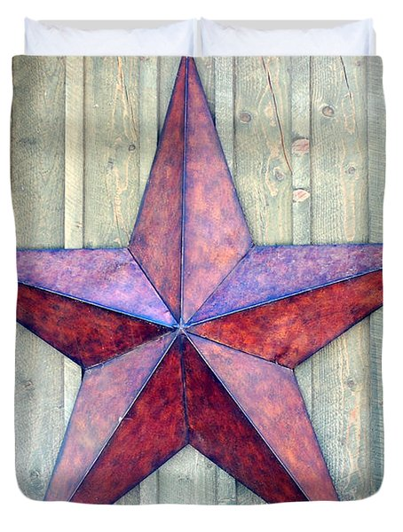 Red Rusted Star Duvet Cover by Holly Blunkall