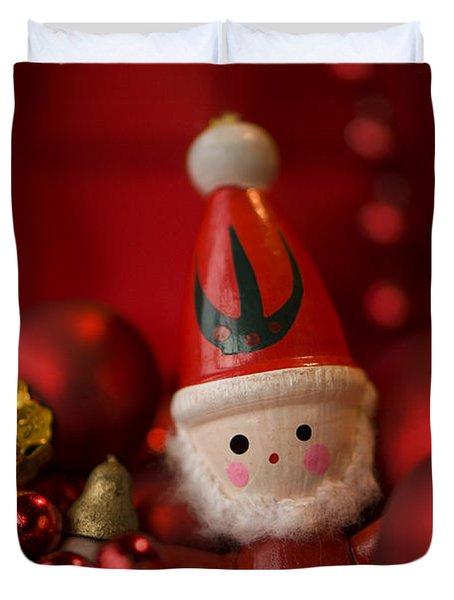 Red Santa Duvet Cover by Anne Gilbert