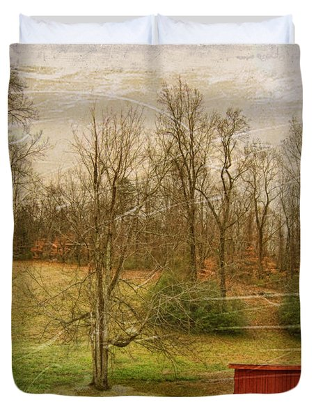 Red Shed Duvet Cover by Paulette B Wright