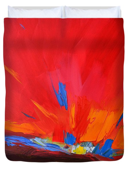 Red Sunset Abstract  Duvet Cover by Patricia Awapara