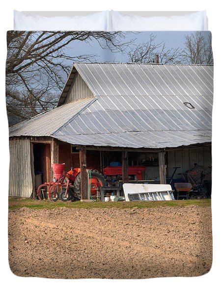Red Tractor In A Tin Roofed Shed Duvet Cover by Paulette B Wright