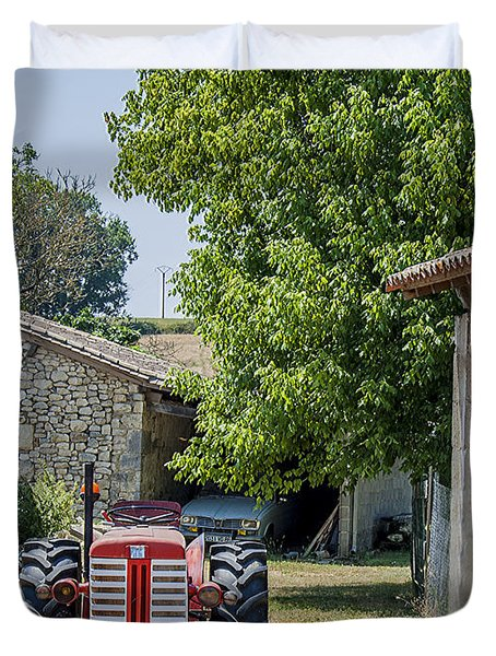 Red Tractor on a French Farm Duvet Cover by Nomad Art And  Design