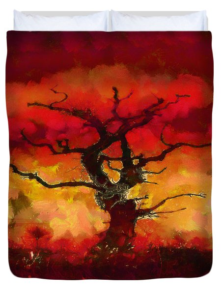 Red tree of life Duvet Cover by Pixel Chimp