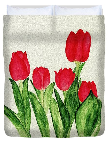 Red Tulips Duvet Cover by Anastasiya Malakhova