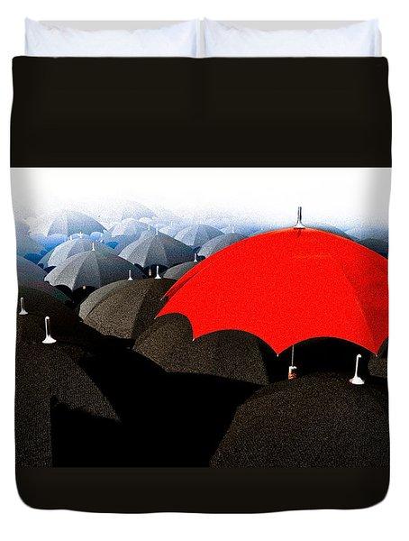 Red Umbrella In The City Duvet Cover by Bob Orsillo